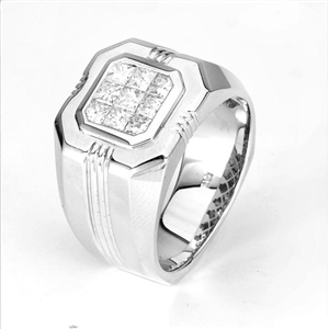 18KW INVISIBLE SET GENT'S RING, DIAMOND 1.16CT