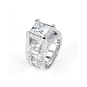 18KTW INVISIBLE SET ENGAGEMENT RING, DIAMOND 6.16CT