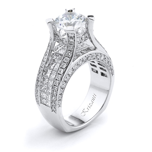 18KTW INVISIBLE SET ENGAGEMENT RING, DIAMOND 2.96CT