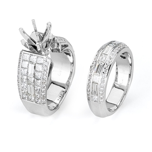 18KTW INVISIBLE SET, ENGAGEMENT SET 3.72CT