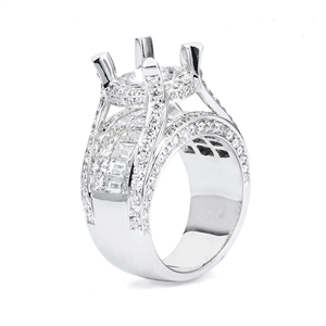 18KTW INVISIBLE SET ENGAGEMENT RING, DIAMOND 4.60CT