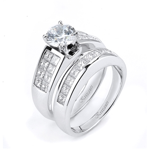 18KTW INVISIBLE SET ENGAGEMENT SET, DIAMOND 2.20CT