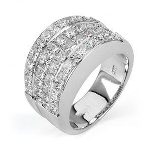 18KTW INVISSIBLE SET BAND, DIAMOND 4.29CT