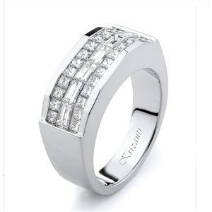 18KW INVISIBLE SET GENT'S BAND, DIAMOND 2.33CT