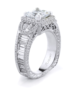18KW ENGAGEMENT RING, DIAMOND 3.47CT