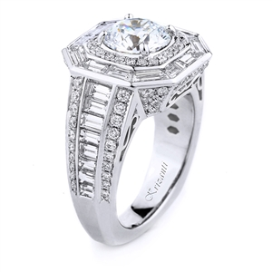 18KT WHITE RING BAGUETTE 2.33CT, ROUND 0.83CT