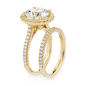 18KT YELLOW ENGAGEMENT SET, DIAMOND 0.48CT