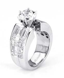 18KW INVISIBLE SET, ENGAGEMENT RING 2.86CT