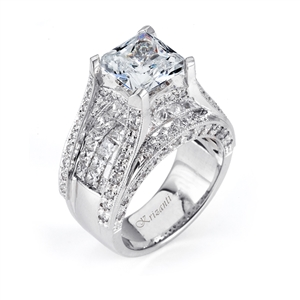 18KTW INVISIBLE SET ENGAGEMENT RING, DIAMOND 4.01CT