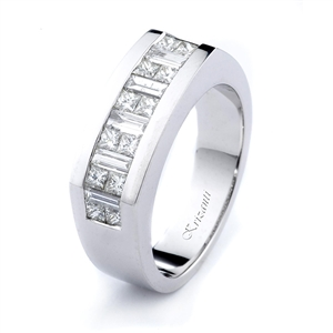 18KW INVISIBLE SET  GENT'S BAND, DIAMOND  1.85CT