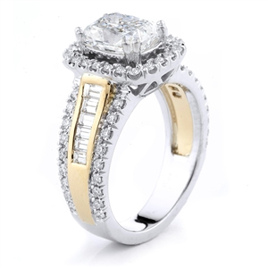 18KT 2 TONE ENGAGEMENT RING, DIAMOND 0.94CT