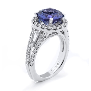 18KTW FASHION RING, DIAMOND 1.46CT,TANZANITE 3.47CT