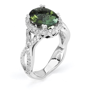 18KTW FASHION RING, DIAMOND 0.56CT GREEN TOURMALINE 2.23CT