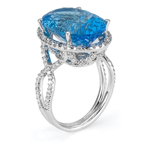 18KTW FASHION RING, DIAMOND 1.04CT, BLUE TOPAZ 14.02CT