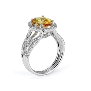 18KTW FASHION RING, DIAMOND 0.91CT, YELLOW SAPPHIRE 2.44CT