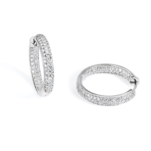 18KTW HOOP EARRINGS, DIAMOND 1.51CT
