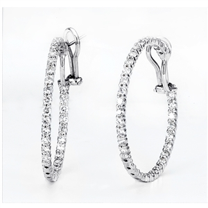 18KW HOOP EARRINGS, DIAMOND 4.64CT