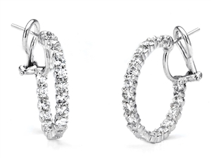 18KTW HOOP EARRINGS, DIAMOND 4.28CT