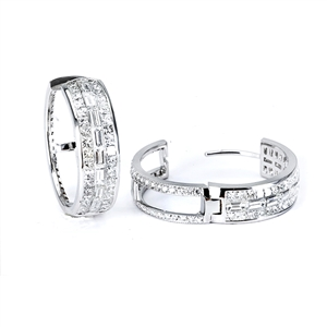 18KTW INVISIBLE SET  HOOP EARRINGS, DIAMOND 6.36CT