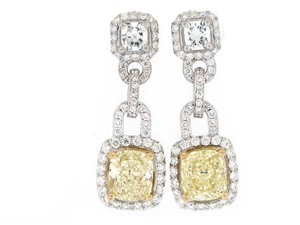 18KT 2 TONE CHANDELIER EARRINGS, DIAMOND 0.85CT