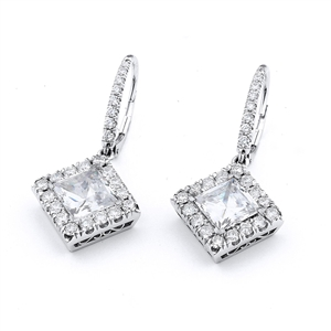 18KTW EARRINGS, DIAMOND 2.10CT