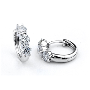 18KTW HOOP EARRINGS, DIAMOND 1.52CT