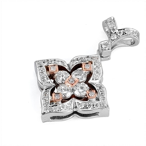 18KT 2 TONE PENDANT, DIAMOND 0.90CT