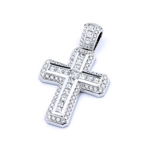 18KTW CROSS PENDANT, DIAMOND 1.62CT