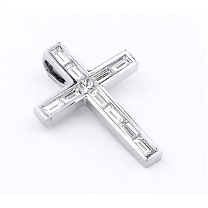 18KTW CROSS PENDANT, DIAMOND 1.33CT