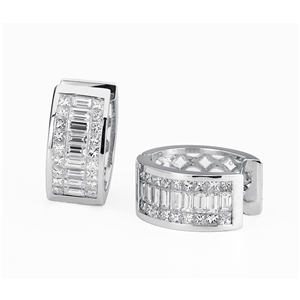 18KTW INVISIBLE SET HOOP EARRINGS, DIAMOND 4.63CT