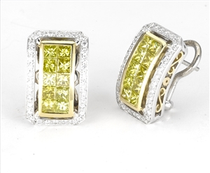 18KT 2 TONE  INVISSIBLE AND PAVE SET EARRING, DIAMOND 3.04CT