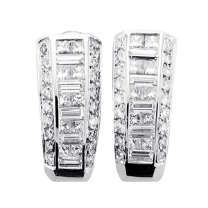 18KTW INVISIBLE SET EARRINGS, DIAMOND 1.91CT