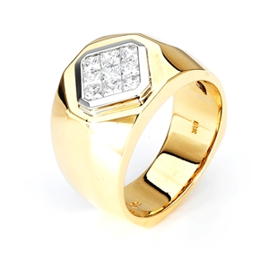 18KT 2 TONE INVISIBLE SET GENT'S RING DIAMOND 1.08CT