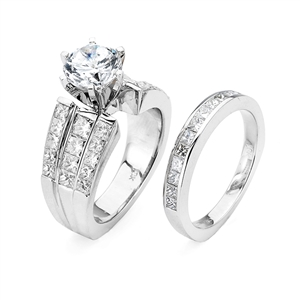 18KTW INVISIBLE SET, ENGAGEMENT SET 2.48CT