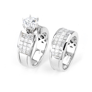 18KTW INVISIBLE SET, ENGAGEMENT SET 3.08CT