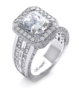 18K WHITE ENGAGEMENT RING 3.50ct
