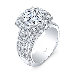 18K WHITE ENGAGEMENT RING 4.23CT