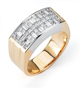 18KT 2 TONE GENT'S BAND DIAMOND 2.44CT