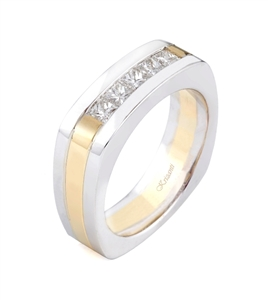 18K WHITE GENT'S BAND 0.95 CT