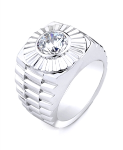 18K WHITE GENT'S RING 31grams