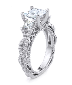18KT.W ENGAGEMENT RING PRN-0.64CT RD-0.58CT