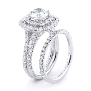 18KT WHITE ENGAGEMENT SET, DIAMOND 1.28CT