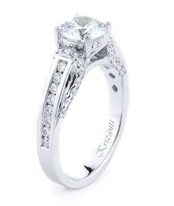 18KT WHITE ENGAGEMENT RING, DIAMOND 0.59CT