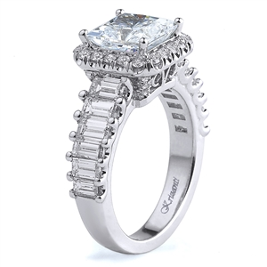 18K WHITE ENGAGEMENT RING BGT-1.91CT RD-0.34CT