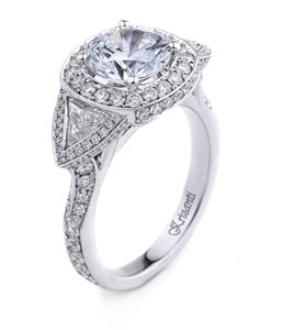 18K WHITE ENGAGEMENT RING TRI-0.52CT RD-1.28CT