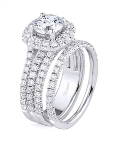 18K WHITE ENGAGEMENT SET 1.62ct