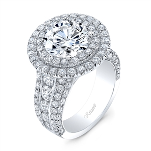 18K WHITE ENGAGEMENT RING 3.87 ct