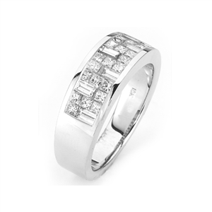 18KTW  INVISIBLE SET GENT'S BAND, DIAMOND 1.76CT
