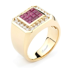 18KTY INVISIBLE SET GENT'S RING, DIAMOND 0.95CT,RUBY 1.04CT