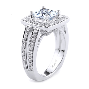 18KT. WHITE ENGAGEMENT RING DIAM-0.86CT